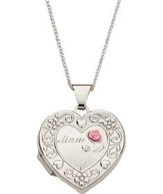 Buy Sterling Silver 'Mum' Heart Locket Pendant at Argos.co.uk - Your Online Shop for Ladies' necklaces.