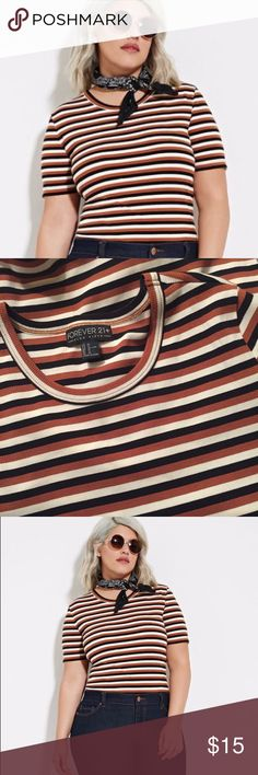 Ribbed Stripe Tee FOREVER 21 PLUS Ribbed Striped Tee Size 1X - Brown, black & white striped tee - Ribbed - Crew neckline - Short-sleeves - 46% rayon, 42% cotton, 12% elastane (lots of stretch) ✅ NWOT-never worn ✅ NO trades / NO low-balling ✅ List price is fair and highly discounted✌️ Forever 21 Tops Tees - Short Sleeve