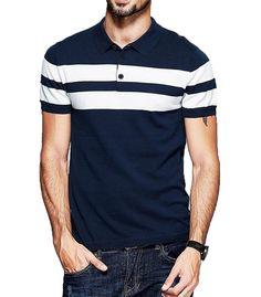 121ec9e96cd311 Fanideaz Mens Half Sleeve Navy Blue with White Contrast Striped Polo T-Shirt  Mens Half