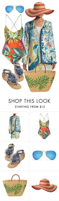 """""""Beach Happy"""" by shirley-de-gannes ❤ liked on Polyvore featuring Johnny Was Collection, Mara Hoffman, Ray-Ban, Aranáz, Columbia and plus size clothing"""