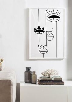 Casa Rock, Art Abstrait Ligne, Art Minimaliste, Abstract Face Art, Abstract Drawings, Painting Of Girl, Painting Art, Art Paintings, Art Drawings Sketches