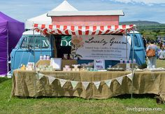 Using a VW Camper Van and vintage awning as a Farmers Market Stall