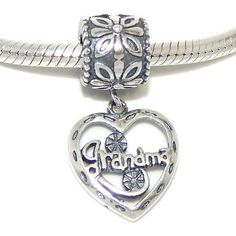 Heart Grandma Sterling Silver Pendant Dangle by YourCharmedStory