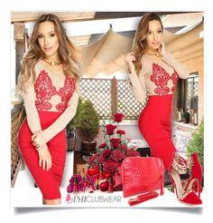 Red Embroidered Mesh Sexy Bodycon Dress - Amiclubwear.com - 4/2 by bebushkaj on Polyvore featuring moda