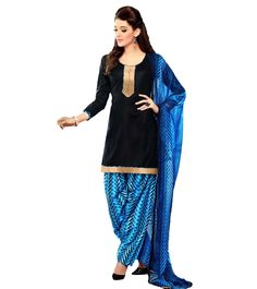 #Black & #Blue Printed #Crepe Unstitched #Salwar #Kameez by #Suchi #Fashion at #Indianroots