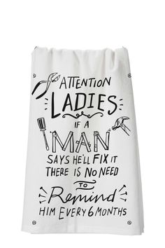 """High quality lint less towel with whimsical saying.  28"""" square Ladies Man Towel by Twist. Home & Gifts - Home Decor - Towels Santa Monica Los Angeles California"""