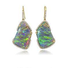 18K Yellow Gold Australian Black Opal and Diamond Earrings