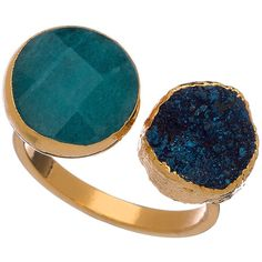 Janna Conner Designs Gold Vi Teal Jade and Midnight Druzy Ring (175 CAD) ❤ liked on Polyvore featuring jewelry, rings, druzy ring, 18k gold jewelry, circle ring, 18k gold ring and gold ring