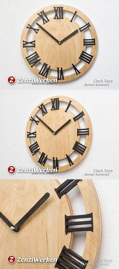 wall clock design 397301998377539623 - Wall clock, 'Roman Numerals', Birch plywood, Smocked Oak, Concentric rings Source by Grafimedia Clock Painting, Clock Art, Diy Clock, Clock Decor, Wall Clock Vector, Wall Clock Design, Wooden Clock, Wooden Walls, Wooden Boxes