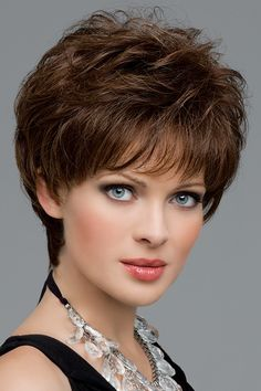Aubrey by Envy Wigs - Monofilament, Hand Tied, Human Hair, Synthetic Blend Wig - kurzhaarfrisuren Stacked Hairstyles, Cute Hairstyles For Short Hair, Short Hair Cuts For Women, Wig Hairstyles, Curly Hair Styles, Casual Hairstyles, Wig Styles, Medium Hairstyles, Hairdos