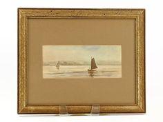 Vintage Sailboats Watercolor Ocean Seascape Nautical | Etsy Nautical Painting, Watercolor Ocean, Vintage Picture Frames, Sailboats, Famous Artists, Neutral Colors, Vintage Art, Seaside, Serenity