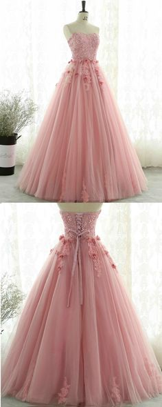 Beaded pink tulle long sweet 16 prom dress
