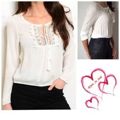 Embroidered Blouse Off white embroidered blouse.  Fit is true to size.  Has elastic at the sleeves and waist. 100% polyester.   ❗️Please don't purchase this listing tell me a size and I will make a new listing❗No Trades ✅ Offers Considered*✅ *Please use the blue 'offer' button to submit an offer. Tops