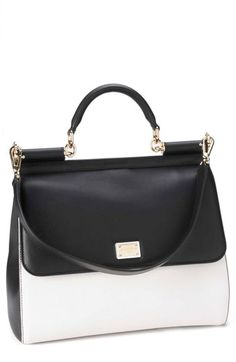 Dolce&Gabbana 'Miss Sicily - Bi-Color' Top Handle Leather Satchel available at #Nordstrom