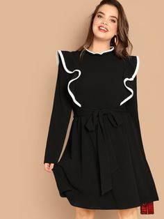 Shop Plus Ruffle Trim Keyhole Back Belted Dress online. SHEIN offers Plus Ruffle Trim Keyhole Back Belted Dress & more to fit your fashionable needs. Maxi Dress With Slit, Belted Dress, Mesh Dress, Ruffle Dress, Occasion Maxi Dresses, Bridesmaid Dresses, Prom Dresses, Bride Dresses, Dresses Uk