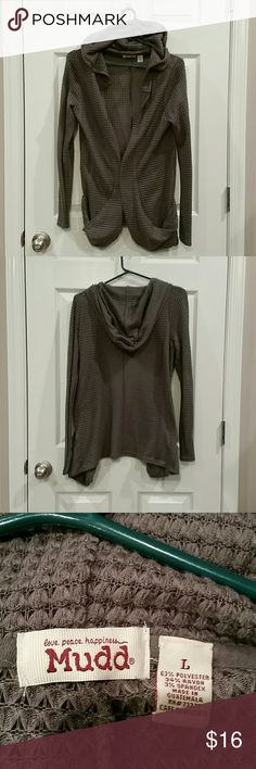 Women's Mudd waffle hoodie size L Grey NWOT never worn! Perfect conditon. Very soft and confortable! Mudd Tops Sweatshirts & Hoodies