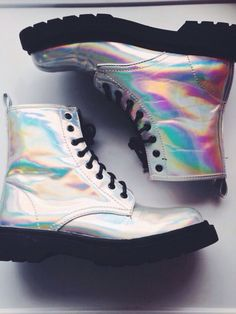 Shop from the best fashion sites and get inspiration from the latest holographic combat boots. Holographic Boots, Holographic Fashion, Grunge Goth, Goth Shoes, High Top Sneakers, Shoes Sneakers, Aesthetic Shoes, Dream Shoes, Dr. Martens