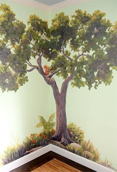 I love the realism of the tree and the colors. The squirrel is cute, too. Happy Tree Nursery - The Happy Tree Tree Wall Murals, Kids Room Murals, Murals For Kids, Tree Wall Art, Mural Painting, House Painting, Diy Painting, Tree Wall Painting, Forest Mural