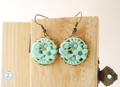 Turquoise Asian Motif Cameo Earrings by LuvPeuDeChose on Etsy, $13.90