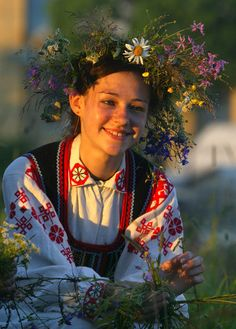 Girl in a traditional wreath at the Kupalle (Midsummer) festival in Rakov, Belarus. Photo by Yulia Darashkevich.