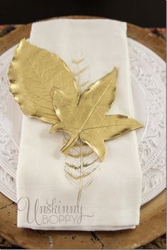 How to make golden leaves for your Autumn / Fall place settings from polymer clay!