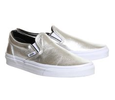 7e83fd2d3065 Vans Classic Slip On Shoes Silver Metallic - Unisex Sports