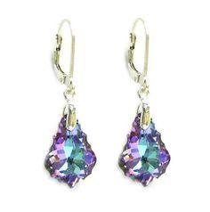 Light Purple Genuine Swarovski Elements Crystals Sterling Silver Earrings $19.98 joyfulcrown.com
