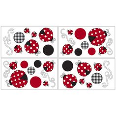 @Overstock - Sweet JoJo Designs Removable Wall Decals add a fun and colorful touch to any bedroom. These wall decals make great gifts, enhance room décor and create an interesting and stimulating environment.http://www.overstock.com/Baby/Sweet-JoJo-Designs-Ladybug-Wall-Decal-Stickers-Set-of-4/7599591/product.html?CID=214117 $21.99