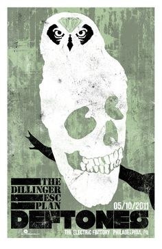 Poster design for the Deftones/Dillinger Escape Plan North American Tour 2011 gig at the Electric Factory in Philadelphia. One of one green