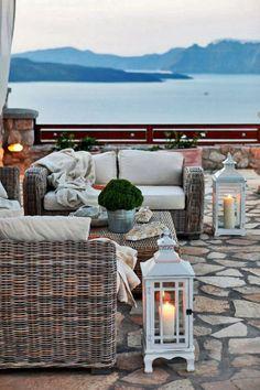 Late Afternoon in Akrotiri, Santorini.. Love the lanterns!!!: