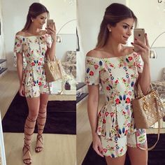 Fashion Women The word collar Printing flouncing Short Jumpsuits Short sleeve rompers womens jumpsuit Sexy Elegant New Fashion, Girl Fashion, Fashion Outfits, Womens Fashion, Casual Dresses, Casual Outfits, Cute Outfits, Style Feminin, Vestido Casual