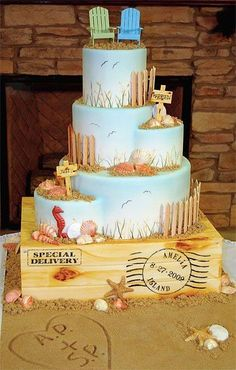 "Cute beachy wedding cake! We can help achieve this look at Dallas Foam with cake dummies, cupcake stands and cakeboards. Just use ""2015pinterest"" as the item code and receive 10% off your first order @ www.dallas-foam.com. Like us on Facebook for more discount offers!"