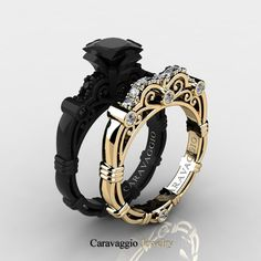 Caravaggio 14K Black and Yellow Gold 1.25 Ct Princess Black and White Diamond…