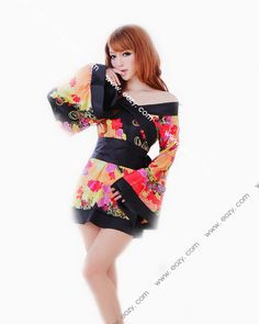 Fashion Babydoll Japanese Printed Satin Lingerie Underwear Nighty Dress