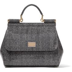 Dolce & Gabbana - Printed Glossed-leather Tote ($1,514) ❤ liked on Polyvore featuring bags, handbags, tote bags, grey, tote purses, leather handbags, grey leather handbags, gray leather purse and colorful tote bags
