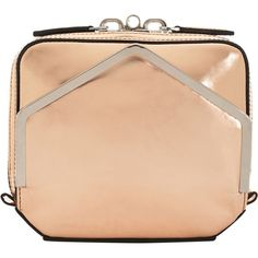 Alexander Wang Metallic Adriel Clutch - Blush ($189) ❤ liked on Polyvore featuring bags, handbags, clutches, сумки, handbags & purses, luggage, women, leather clutches, real leather handbags and metallic leather handbags