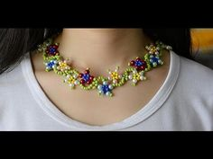 How to Make Colorful Flower Pearl and Seed Beads Necklace - YouTube