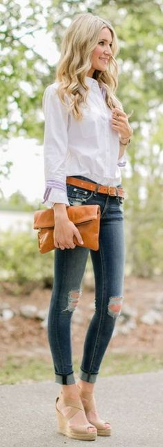 button down shirt: Tuxe Bodywear c/o | belt: J.Crew | denim: Shopbop