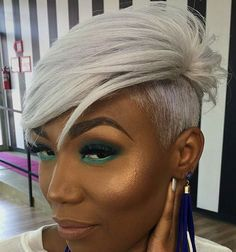 We're so obsessed with this short hair and custom color 🤪 created by ✨ Short Sassy Hair, Short Grey Hair, Short Black Hairstyles, Funky Hairstyles, Short Hair Cuts, Girl Hairstyles, Short Hair Styles, Shaved Side Hairstyles, Pelo Afro