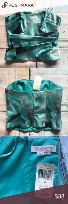 Kay Unger Top Kay Unger, blue multi, silk, strapless top, size 6. Kay Unger Tops Crop Tops