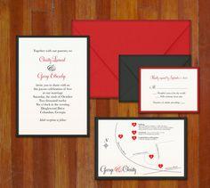Romantic and Classic Red Letterpress Wedding Invitation Suite.
