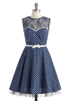 A Dot to Love Dress - Cotton, Mid-length, Blue, White, Polka Dots, Backless, Bows, Lace, Party, A-line, Sleeveless, Crew, Wedding, Vintage Inspired, 50s, Prom, Bridesmaid
