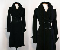 1940s Coat JET JETTY Vintage 40s Princess Seamed Black Fit and Flare Coat