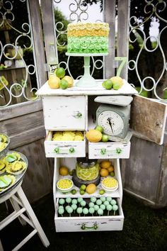 A bright color palette of yellows, bright green, and mint green helped set the tone for his gorgeous vintage lemon and lime party by Mariah Rainier Miller of Mariah Rainier Style. Details included a vintage lemonade stand, a glass drink dispenser with a galvanized steel stand, a milk glass cake stand and juicer, vintage […]