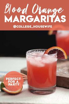 Try this refreshing Blood Orange Margarita all summer long - it's perfect for a party! Blood Orange Margarita, Blood Orange Juice, Refreshing Summer Cocktails, Spring Cocktails, Whiskey Cocktails, Classic Cocktails, Dinner Party Recipes, Cocktail Recipes, Cocktail Garnish
