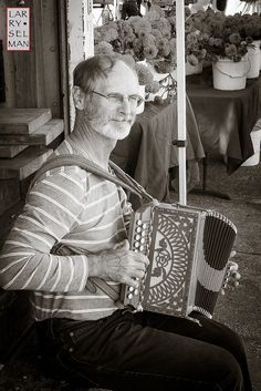 Street Portrait - Musician with Italian Accordian