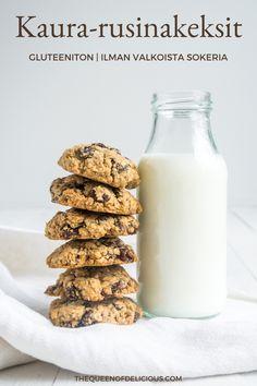 Ihanat kaura-rusinakeksit ovat yhtä aikaa rapeita ja pehmeitä. Kokeile helppoa reseptiä ja leivo täydellisiä keksejä. #leivonta #keksi #resepti #gluteeniton