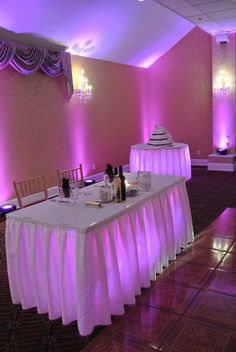 Under table lighting by Music In Motion Entertainment at the VIlla Bianca of Seymour, CT.