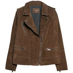Violeta by Mango Peccary Biker Jacket, Dark Brown (€47) ❤ liked on Polyvore featuring outerwear, jackets, coats, tops, leather biker jacket, biker jacket, brown biker jacket, brown motorcycle jacket and real leather jackets