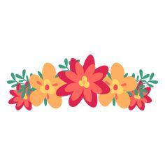 Orange red flower crown png